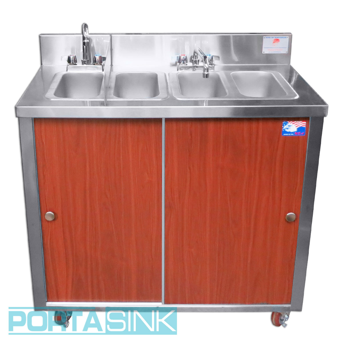 Portable Hand Sink, 4 Compartments, Wood Grade Aluminum Panels U2013 Portable  Sink U2013 Portable Sinks U0026 Portable Bars